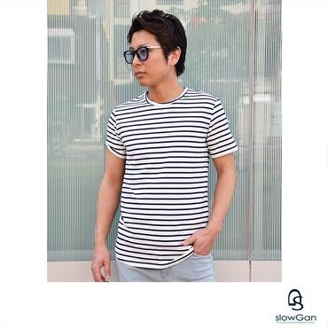 Tシャツ メンズ クルーネック Vネック 半袖 ボーダー ストリート ロング丈 / ロング丈Tシャツ slowGan / スローガン