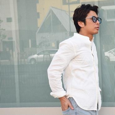 メンズ シャツ バンドカラー スタンドシャツ ノーカラーシャツ 白シャツ ワイシャツ / スタンドカラーシャツ slowGan / スローガン