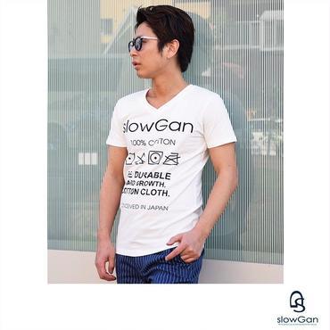 Tシャツ メンズ Vネック Uネック クルーネック プリント ロゴ ロゴプリント / ロゴプリントTシャツ SLOWGAN / スローガン