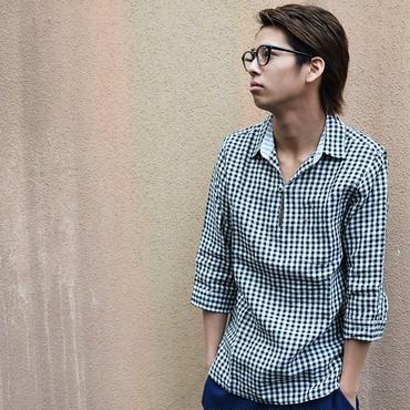カプリシャツ リネンシャツ ギンガムチェックシャツ / フレンチリネンギンガムチェックカプリシャツ