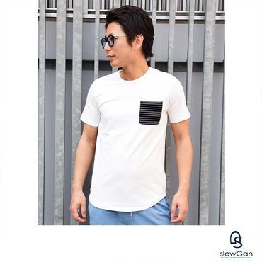 Tシャツ メンズ メンズ Tシャツ Vネック Uネック クルーネック ロング丈 胸ポケット ボーダー / ボーダー胸ポケットTシャツ slowGan / スローガン