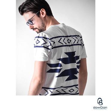 Tシャツ メンズ Vネック Uネック クルーネック ネイティブ柄 / ネイティブ柄Tシャツ SLOWGAN / スローガン
