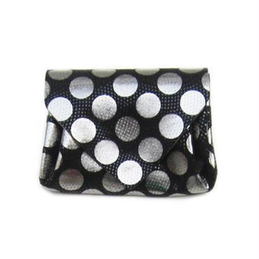 ドットレザーミニウォレット シルバー×ブラック 【Dot Mini Wallet Black】