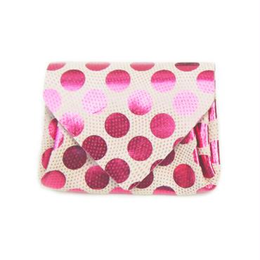 ドットレザーミニウォレット ピンク×ベージュ 【Dot Mini Wallet Pink】