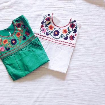 kids★flower 刺繍 ethnic one-piece tunic