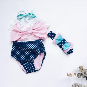 kids★dot ribbon 3set Bikini