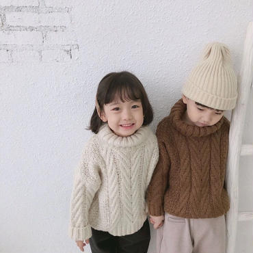 【予約商品】kids★ High neck cable knit