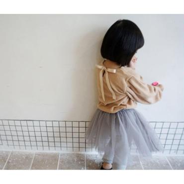 kids★Back ribbon volume shoulder top