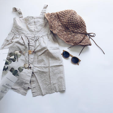 kids★linen front button one-piece