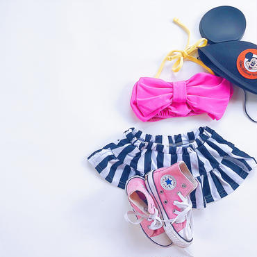 kids★ribbon stripe Bikini(帽子付き)