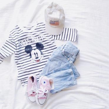 kids★mickey border pullover