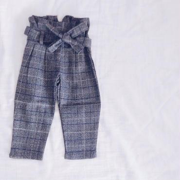 kids★gurencheck high-waist ribbon pants