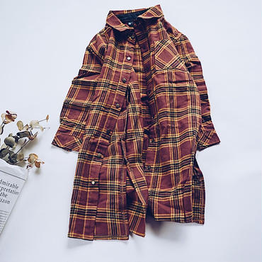 kids★long check shirt