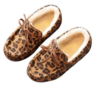 【予約商品】kids leopard ribbon moccasin