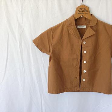 kids★brown linen shirt