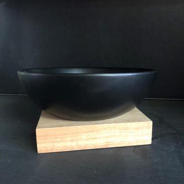 被災地支援チャリティ商品 浅型陶器製ボール鉢と天然木鉢受けのセット