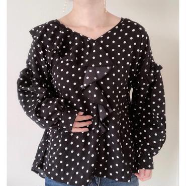 即納/dot frill blouse