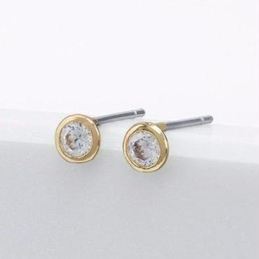 Gold and Cubic Zirconia Circle Studs / Louche