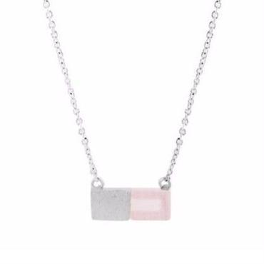 Silver and Rose Quartz Necklace / Louche