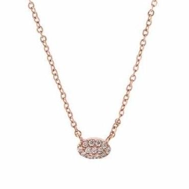 Rose Gold Mini Oval Pave Necklace / Louche