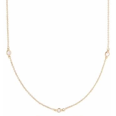 Gold-Plated Station Cubic Zirconia Necklace / Louche