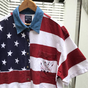 QUIZZ NEW YORK/クイズニューヨーク 星条旗柄半袖シャツ 2000年 (USED)