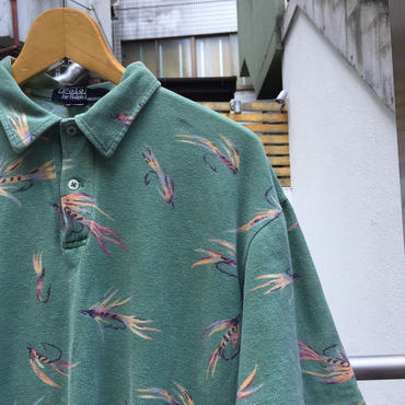 PoloRalphLauren/ポロラルフローレン フライ柄 鹿の子ポロシャツ 90年代 Made In USA (USED)