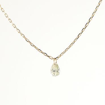 K18 イエローゴールド ダイアモンド ペアシェイプカット レーザーホール  ペンダント ネックレス