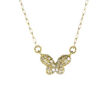 K18 イエローゴールド ダイアモンド バタフライ ペンダント ネックレス