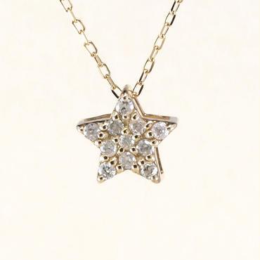 K10 イエローゴールド ダイアモンド スター ペンダント ネックレス