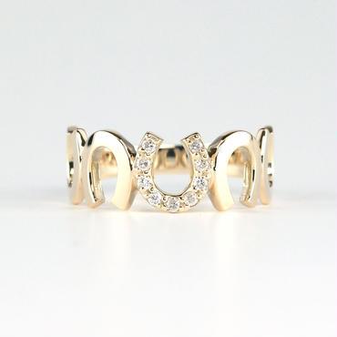K10 イエローゴールド ダイアモンド 馬蹄 リング