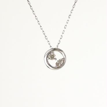 K18 ホワイトゴールド ダイアモンド サークル ペンダント ネックレス