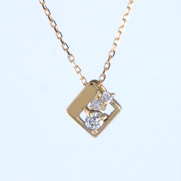 K18 イエローゴールド ダイアモンド スクエア ネックレス