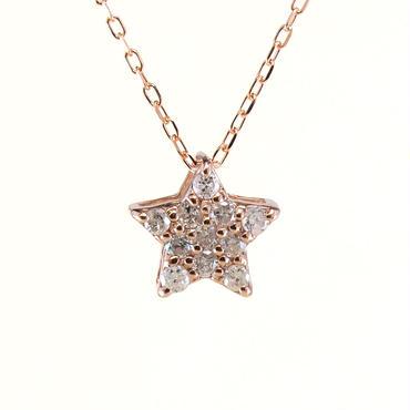 K10 ピンクゴールド ダイアモンド スター ペンダント ネックレス