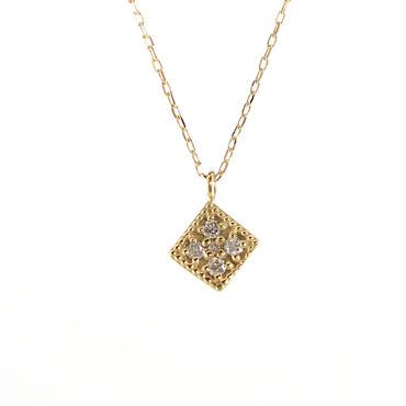 K18 イエローゴールド ダイアモンド スクエア ペンダント ネックレス