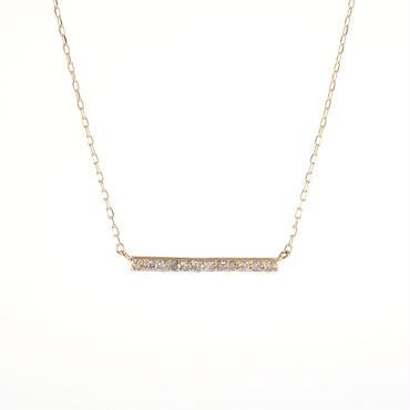 K18 イエローゴールド ダイアモンド バー バランス ペンダント ネックレス