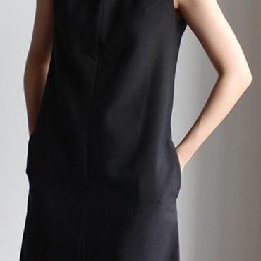 レディース 海外 インポート ブラック シンプル タンク ワンピース ドレス 黒