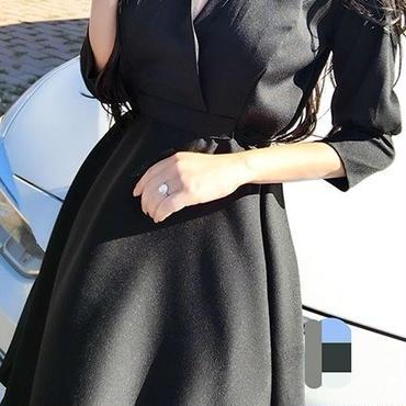 レディース ブラック カシュクール フレア シャツ ワンピース ドレス 黒