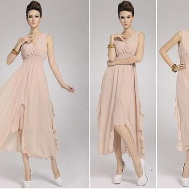 海外インポートセレクトフリルシフォンピンクベージュマキシワンピースドレス