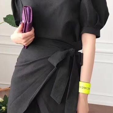 レディース 海外 インポート ブラック パフ スリーブ 巻 スカート デザイン ワンピース ドレス 黒