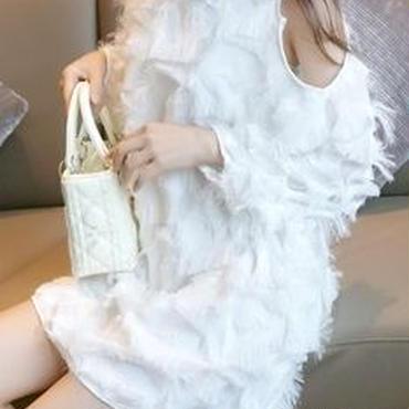 レディース ホワイト フェザー ふわふわ ワンピース ドレス 肩 だし みせ 白