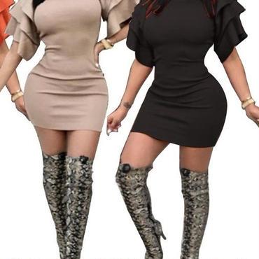 レディース ブラック フリル デザイン ワンピース パーティー ドレス ミニ 黒