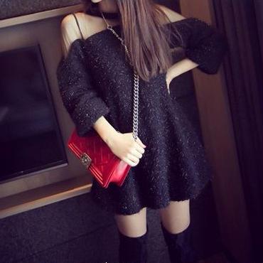 海外インポートセレクトブラックシースルーデザインニットワンピースドレス黒色