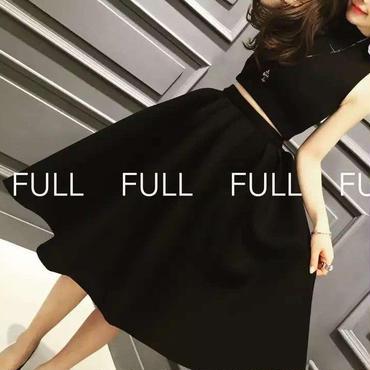 レディース ブラック ショート 丈 トップス フレア ミモレ スカート セットアップ ワンピース ドレス 黒