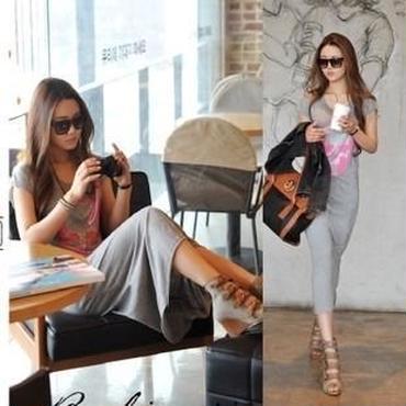 海外インポートセレクトグレー×ピンクスカルデザインラインストーン付きTシャツマキシワンピース
