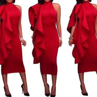 レディース レッド フリル デザイン タイト ワンピース パーティー キャバ ドレス 赤