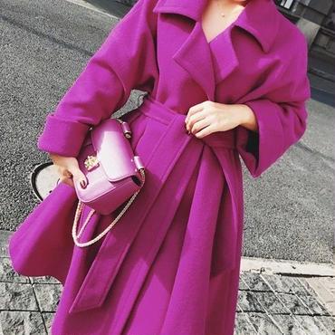レディース マゼンタ パープル カラー ウール混 腰ひも ベルト 付き フレア ガウン ドレス コート 紫