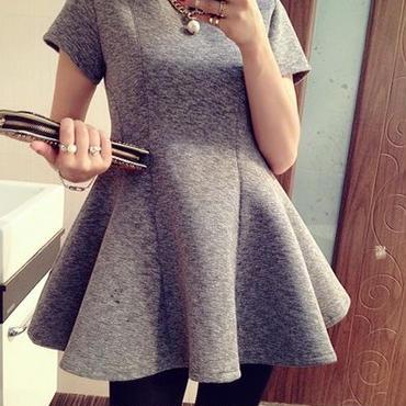 海外インポートセレクトグレーフレアーデザインミニワンピースドレス大人かわいい