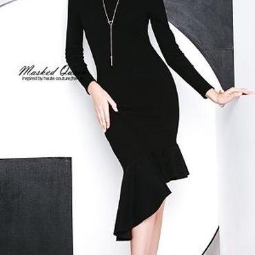 海外 インポート ブラック ニット アシメントリー タイト フリル ワンピース パーティー ドレス 黒色