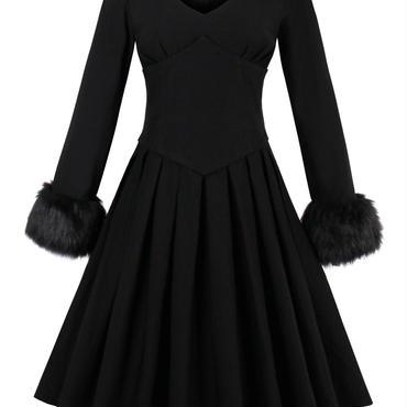 レディース 袖 ファー 付き フレア ワンピース ドレス 長袖 黒